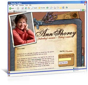 Web site design for author Ann Shorey