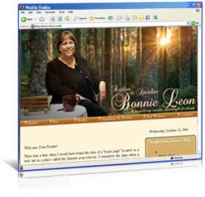 Custom web re-design for author Bonnie Leon