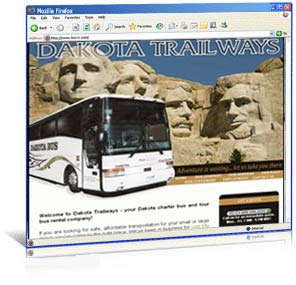 Custom web design for Dakota Trailways Bus Co.