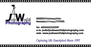Photographer Jodie Westfall's Business Card
