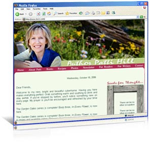 Garden web site design for author Patti Hill